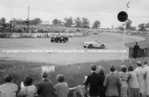 Land Rover Series 1 (A H Baker) and Austin Healey 100, Silverstone 29 May 1954